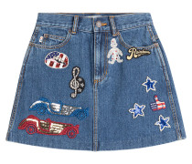 Minirock aus Denim mit Patches