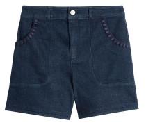 High-Waist-Shorts aus Denim mit Verzierungen
