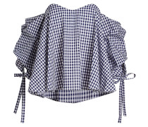 Karierte Off-Shoulder-Bluse aus Baumwolle