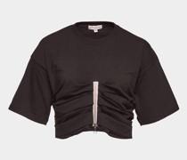 Gerafftes T-Shirt aus Baumwolle mit Pailletten und Zipper