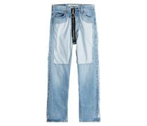Distressed-Jeans mit Kontrast-Zipper