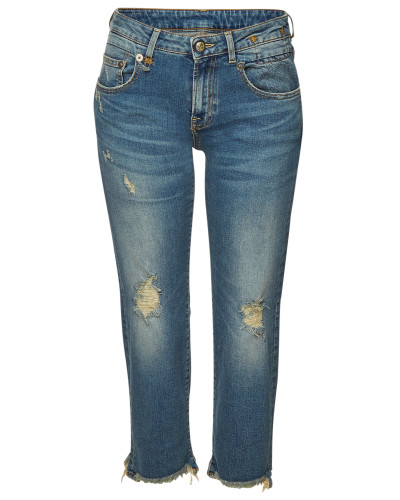 Cropped Distressed Straight Leg Jeans