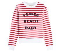 Gestreiftes Sweatshirt aus Baumwolle mit Print