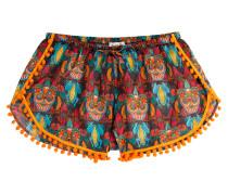 Print-Shorts aus Baumwolle mit Pompoms