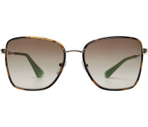 Rechteckige Sonnenbrille mit Schildpatt-Optik