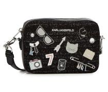 Umhängetasche K/Klassik Pins mit Leder und Wolle