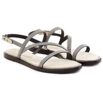 Sandalen aus Leder mit Décor