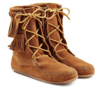 Boots Double Fringe Tramper aus Veloursleder