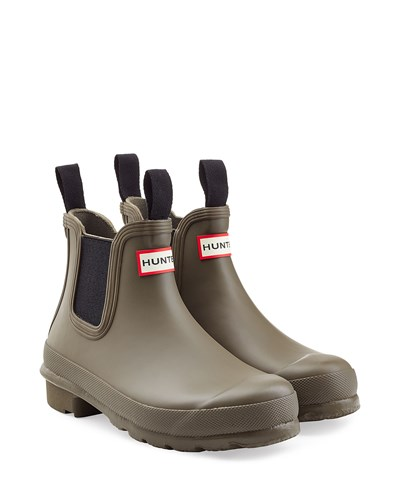hunter damen hunter chelsea boots aus gummi gr n reduziert. Black Bedroom Furniture Sets. Home Design Ideas