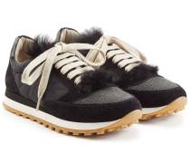 Sneakers mit Veloursleder, Fell und Schmucksteinen