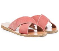 Sandalen aus Samt mit gekreuzten Riemen