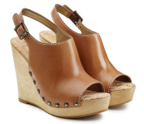 Wedge-Clogs mit Leder