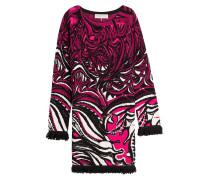 Baumwollkleid mit Intarsien-Muster und Fransen