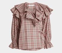 Baumwoll-Bluse mit Rüschen