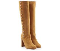 Stiefel aus Veloursleder mit Knöpfen