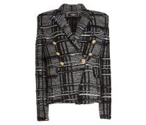 Karierter Blazer aus Tweed mit Glitter-Effekt