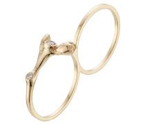 Double-Ring Arbre aus 18kt Gelbgold mit weißen Diamanten