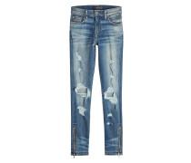 Destroyed Skinny Jeans mit Zippern