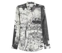 Bedrucktes Hemd aus Baumwolle und Seide