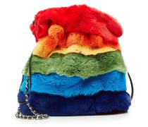 Bucket Bag aus Leder und Kaninchenfell
