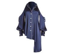 Cold-Shoulder-Bluse aus Satin mit Knöpfen