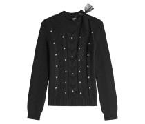 Verzierter Pullover aus Schurwolle mit Tüll-Schleife