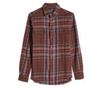 Karierte Bluse aus Baumwolle mit gefranstem Saum