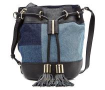 Bucket-Bag aus Leder und Denim