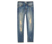 Cropped Jeans im Used Look mit Nieten
