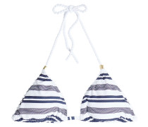 Gestreiftes Triangel-Bikini-Top mit Kordeln