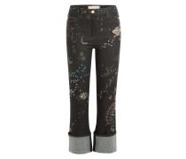 Cropped-Jeans mit Verzierungen und Stickereien