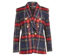 Karierter Blazer aus Tweed mit verzierten Knöpfen