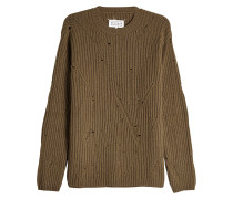 Gerippter Pullover aus Wolle im Used-Look
