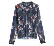 Transparente Bluse mit Biesen und Print