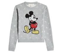 Sweatshirt aus Baumwolle mit Pailletten und Lochmuster