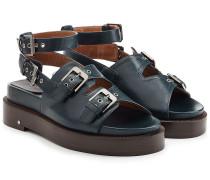 Plateau-Sandalen aus Leder mit Schnallen