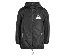 Windbreaker-Jacke mit Kapuze und Applikation