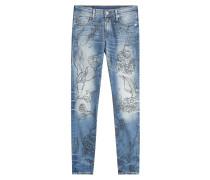 Cropped-Distressed-Jeans Halle mit floralem Print