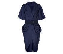 Ink Blue Belted Cocoon Dress