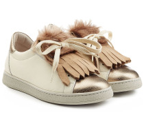Leder-Sneakers mit Fransenlasche