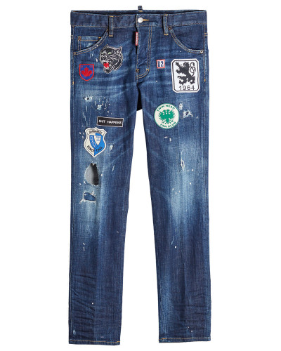 Straight Leg Jeans im Destroyed-Look mit Patches