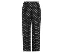 Cropped Wide-Leg-Pants aus Seide mit Polka-Dots
