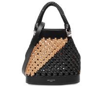 Bucket-Bag aus Leder im Two-Tone-Look mit Webmuster