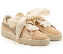 Sneakers Basket Heart aus Veloursleder und Leder