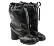 Ankle Boots aus Leder mit Block Heel