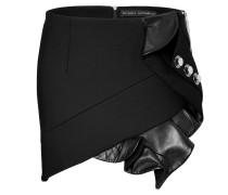 Mini-Skirt mit Leder-Volants und Nieten