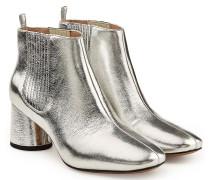 Ankle Boots aus Leder mit Metallic-Finish