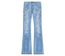 Flared-Jeans mit Graffiti-Print