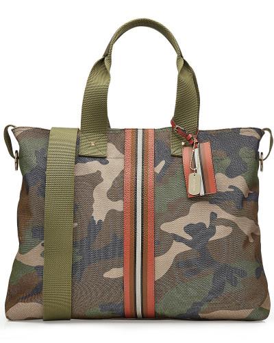Camouflage-Tasche aus Baumwolle mit Leder-Details