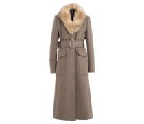 Mantel aus Schurwolle mit Fuchspelzkragen